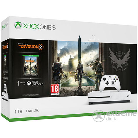 Microsoft Xbox One S 1TB + The Division 2 játékkonzol + PUBG + HALO 5 + Rare Replay + Gears of War 4