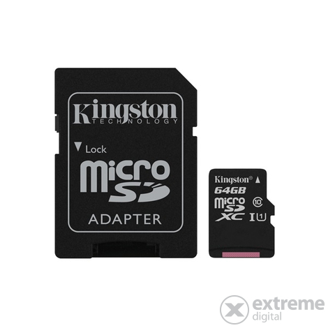 Kingston Canvas Select microSDHC 64GB Class 10 UHS-I (80/10) memóriakártya, adapterrel