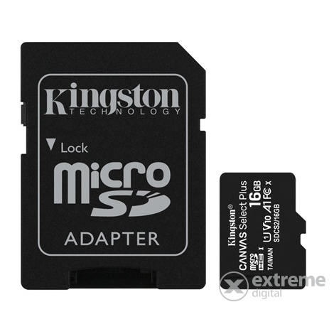 Kingston Canvas Select Plus 16GB MicroSDHC memóriakártya + SD adapter, Class 10