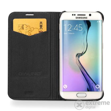 Qialino Classic Samsung Galaxy S6 Edge Plus oldalra nyíló eredeti bőr flip tok  fekete