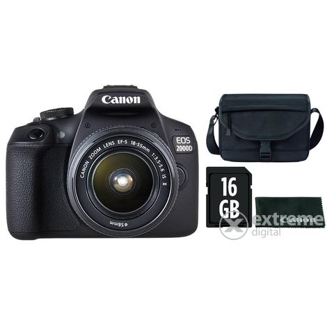 c318a9a612f6 Canon EOS 2000D DSLR fényképezőgép kit (18-55mm IS II objektívvel) + Canon  táska + 16GB SD + törlőkendő