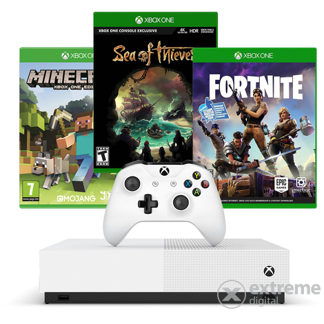 Microsoft Xbox One S 1TB All Digital játékkonzol + Minecraft + Sea of Thieves + Fortnite