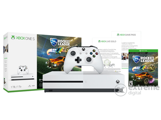 Microsoft Xbox One S 1TB + Rocket League Bundle  (1 hónap Game Pass és 3 hónap Xbox Live Gold)