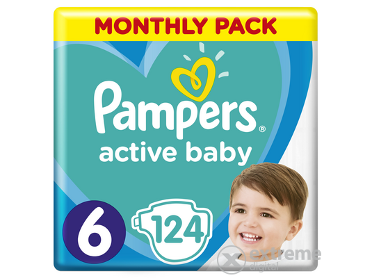 Pampers Active Baby pelenka Monthly Box, 6-os méret, 124 db