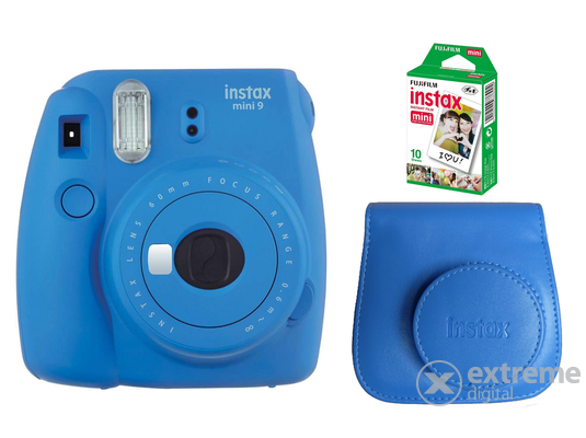 Fujifilm Instax Mini 9 analóg fényképezőgép, cobalt blue + tok + 10db film