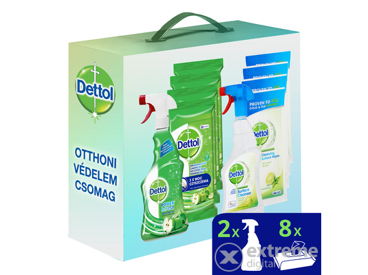 Dettol Power&Fresh online exkluzív csomag (Power&Fresh Törlőkendő 8x32 db, Spray 2x500 ml)