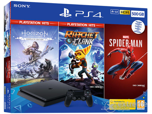 PlayStation® 4 Slim 500GB játékkonzol, fekete + Marvel`s Spiderman, Horizon Zero Dawn Complete Edition és Ratchet&Clank