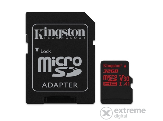Kingston Secure Digital Micro 32GB Cl10 UHS-I U3 V30 A1 (100/70) Canvas React memóriakártya (SDCR/32GB) + SD adapter