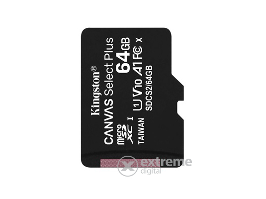 Kingston Canvas Select Plus 64GB MicroSDXC memóriakártya, Class 10